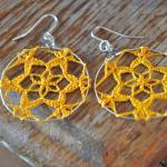 Delicate Lacy Earrings - Curry Mustard