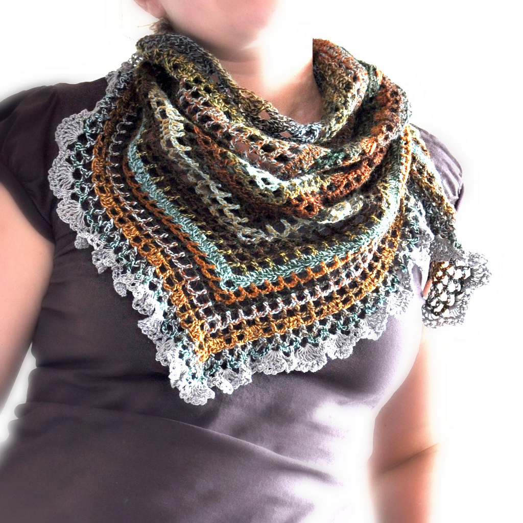 Free Crochet Scarf Edging Patterns : Triangular Crochet Shawl - Made To Order on Luulla